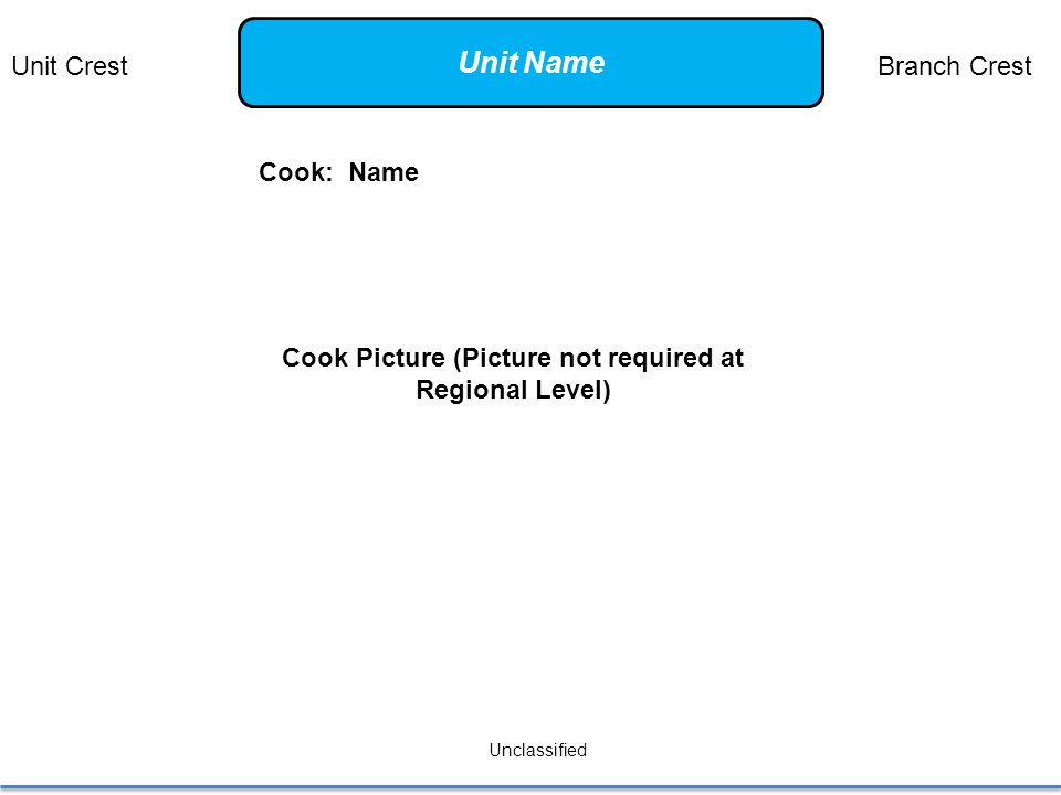 Cook: Name Unclassified Cook Picture (Picture not required at Regional Level) Unit CrestBranch Crest Unit Name