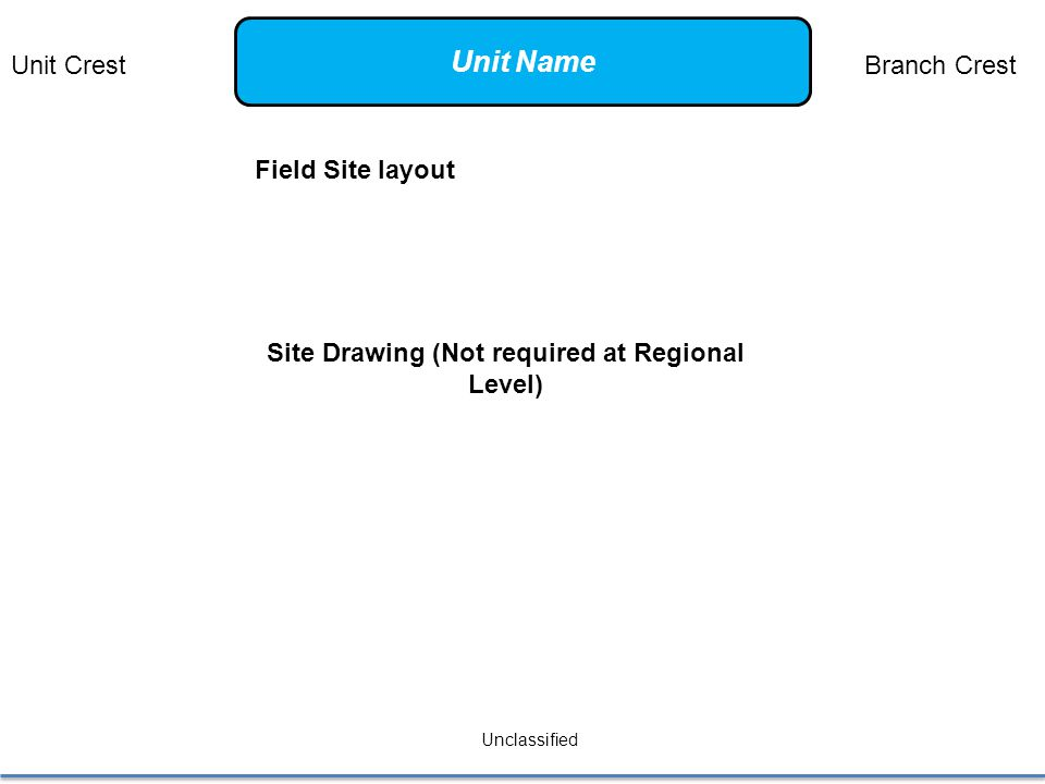 Field Site layout Unclassified Site Drawing (Not required at Regional Level) Unit CrestBranch Crest Unit Name