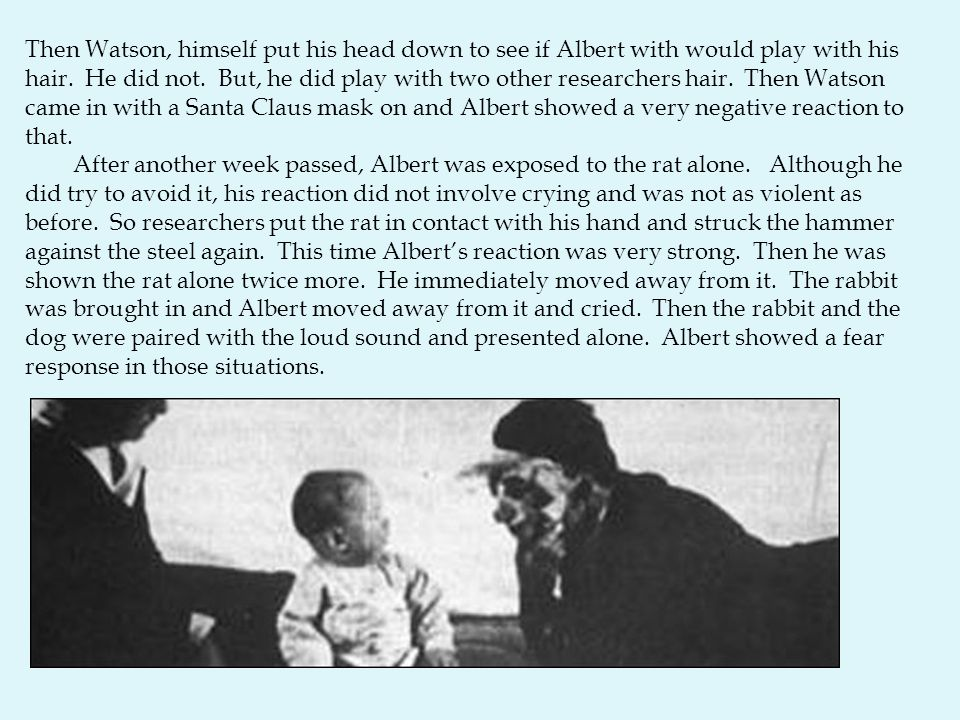 Then Watson, himself put his head down to see if Albert with would play with his hair. He did not. But, he did play with two other researchers hair. T