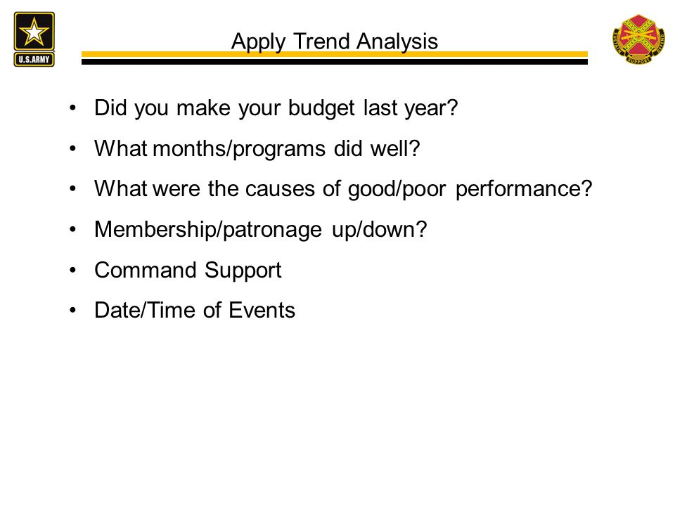 Apply Trend Analysis Did you make your budget last year.