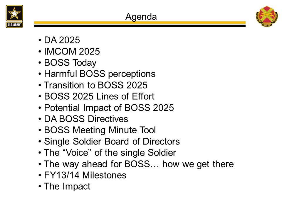 Agenda DA 2025 IMCOM 2025 BOSS Today Harmful BOSS perceptions Transition to BOSS 2025 BOSS 2025 Lines of Effort Potential Impact of BOSS 2025 DA BOSS Directives BOSS Meeting Minute Tool Single Soldier Board of Directors The Voice of the single Soldier The way ahead for BOSS… how we get there FY13/14 Milestones The Impact