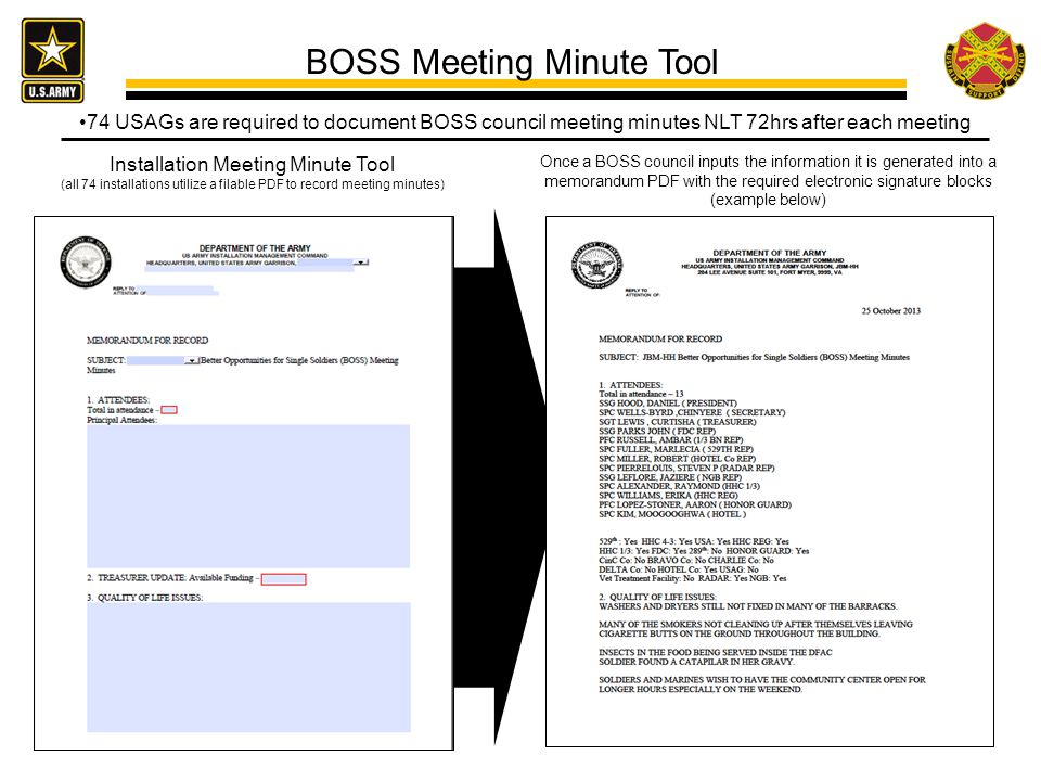 74 USAGs are required to document BOSS council meeting minutes NLT 72hrs after each meeting BOSS Meeting Minute Tool Once a BOSS council inputs the information it is generated into a memorandum PDF with the required electronic signature blocks (example below) Installation Meeting Minute Tool (all 74 installations utilize a filable PDF to record meeting minutes)