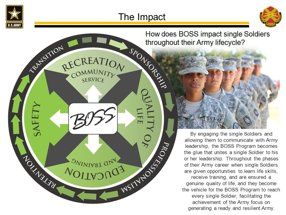 The Impact By engaging the single Soldiers and allowing them to communicate with Army leadership, the BOSS Program becomes the glue that unites a single Soldier to his or her leadership.
