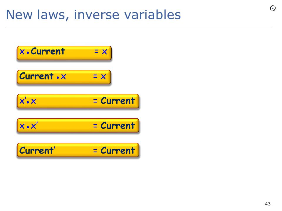 New laws, inverse variables x Current = x Current x = x x' x = Current x x' = Current Current' = Current 43