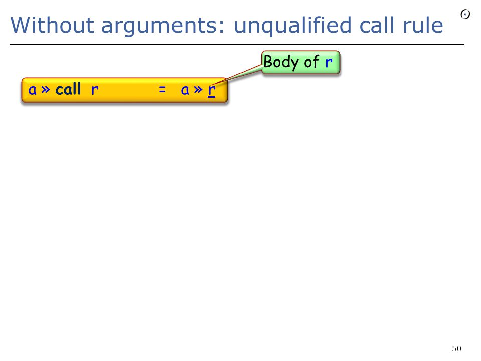 Without arguments: unqualified call rule a » call r = a » r 50 Body of r
