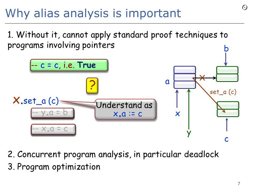 The alias calculus a » skip = a a » (then p else q end)= (a » p)  (a » q) a » (p ; q)= (a » p) » q a » (forget x)= a \- {x} a » (create x)= a \- {x} a » (x := y) = a [x: y] a » cut x, y= a – x, y a » p 0 = a a » p n+1 = (a » p n ) » p a » (loop p end)=  (a » p n ) a » call r (  )= (a [ r :  ]) » r a » call x r (  ) = x (x' (a [x r :  ]) » r) \– x r 58 n  Nn  N Plus: x Current = x Current x = x x' x = Current x x' = Current Current'= Current a [x: y] = given b = a\- {x} then b  ({x} x (b/y)) end