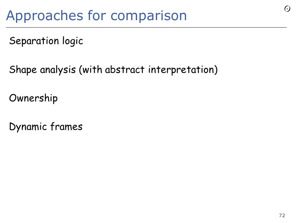 Approaches for comparison Separation logic Shape analysis (with abstract interpretation) Ownership Dynamic frames 72