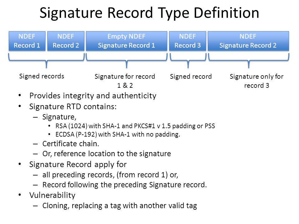 Signature Record Type Definition Provides integrity and authenticity Signature RTD contains: – Signature, RSA (1024) with SHA-1 and PKCS#1 v 1.5 padding or PSS ECDSA (P-192) with SHA-1 with no padding.