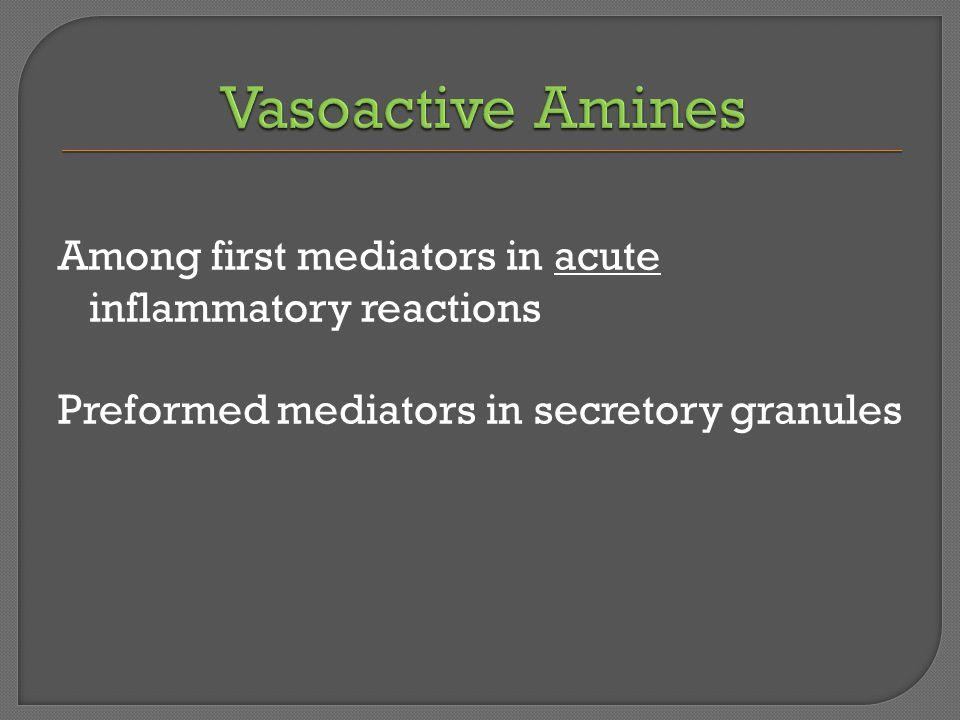 Among first mediators in acute inflammatory reactions Preformed mediators in secretory granules