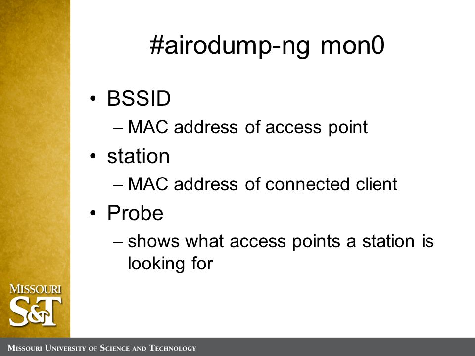 BSSID –MAC address of access point station –MAC address of connected client Probe –shows what access points a station is looking for