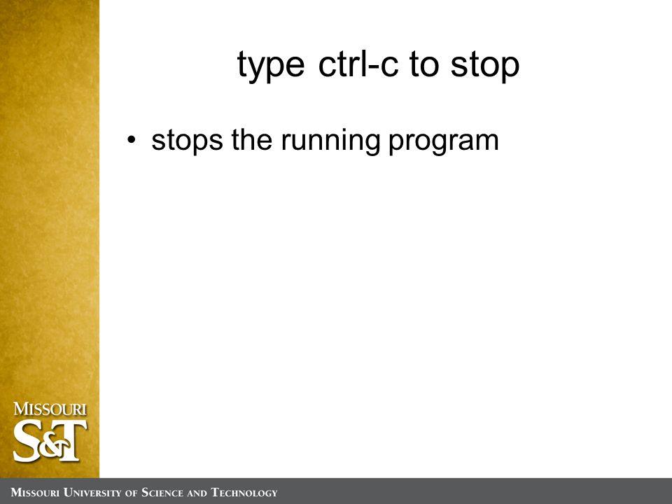 type ctrl-c to stop stops the running program