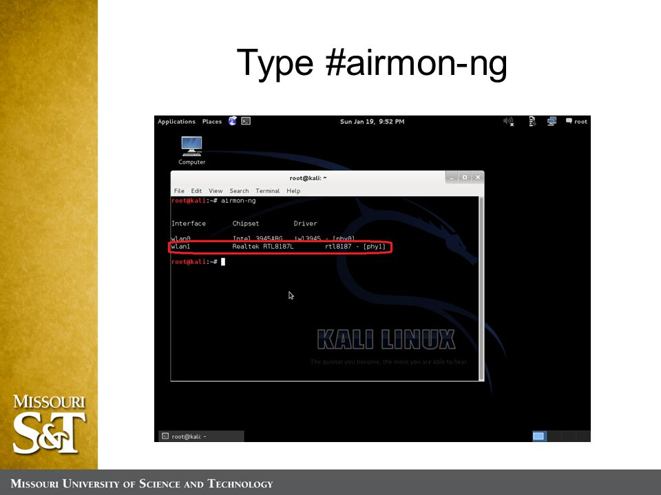 Type #airmon-ng