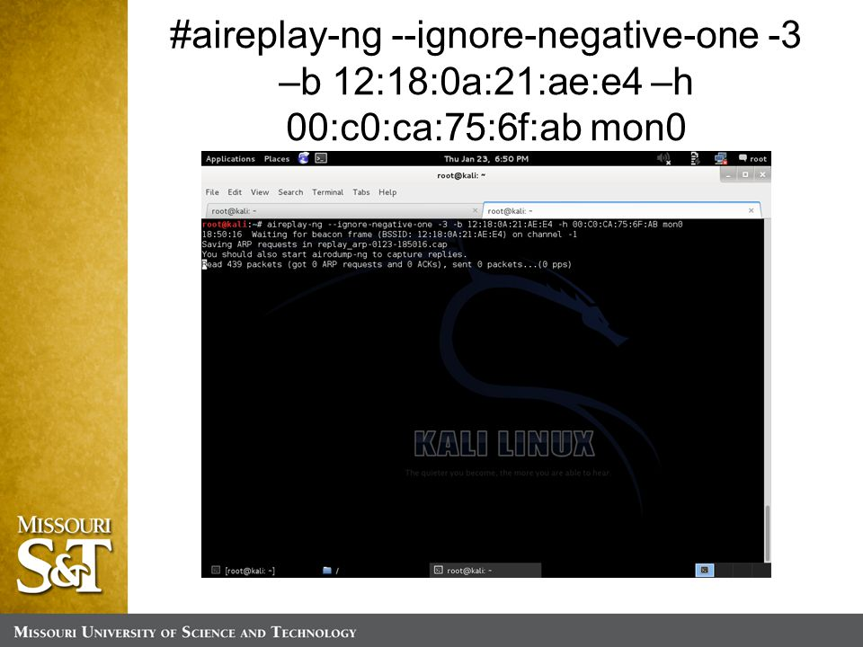 #aireplay-ng --ignore-negative-one -3 –b 12:18:0a:21:ae:e4 –h 00:c0:ca:75:6f:ab mon0