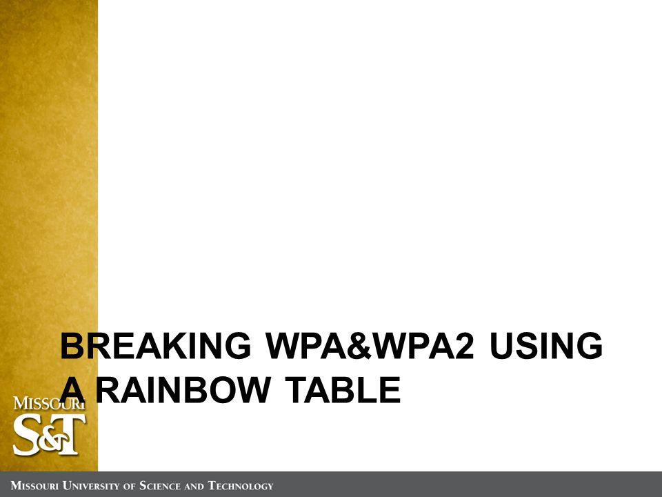 BREAKING WPA&WPA2 USING A RAINBOW TABLE