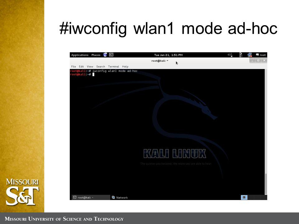 #iwconfig wlan1 mode ad-hoc