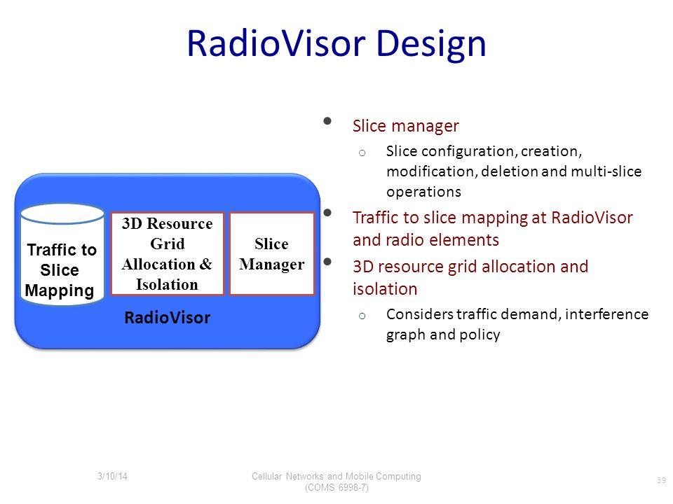 RadioVisor Design Slice manager o Slice configuration, creation, modification, deletion and multi-slice operations Traffic to slice mapping at RadioVi