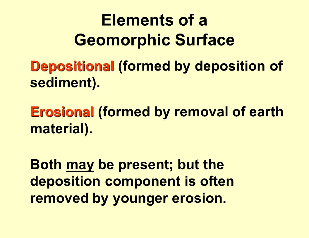 Elements of a Geomorphic Surface Depositional Depositional (formed by deposition of sediment).
