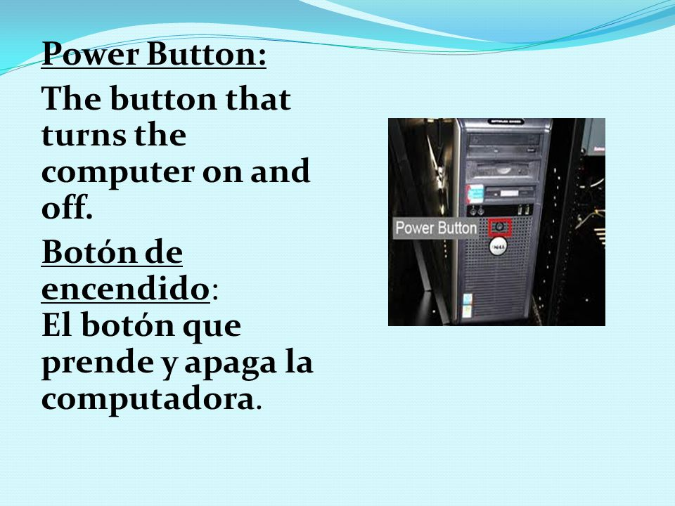 Power Button: The button that turns the computer on and off.
