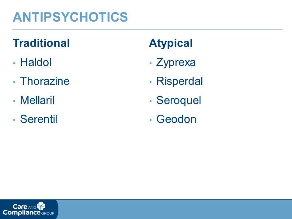 Traditional Haldol Thorazine Mellaril Serentil ANTIPSYCHOTICS Atypical Zyprexa Risperdal Seroquel Geodon