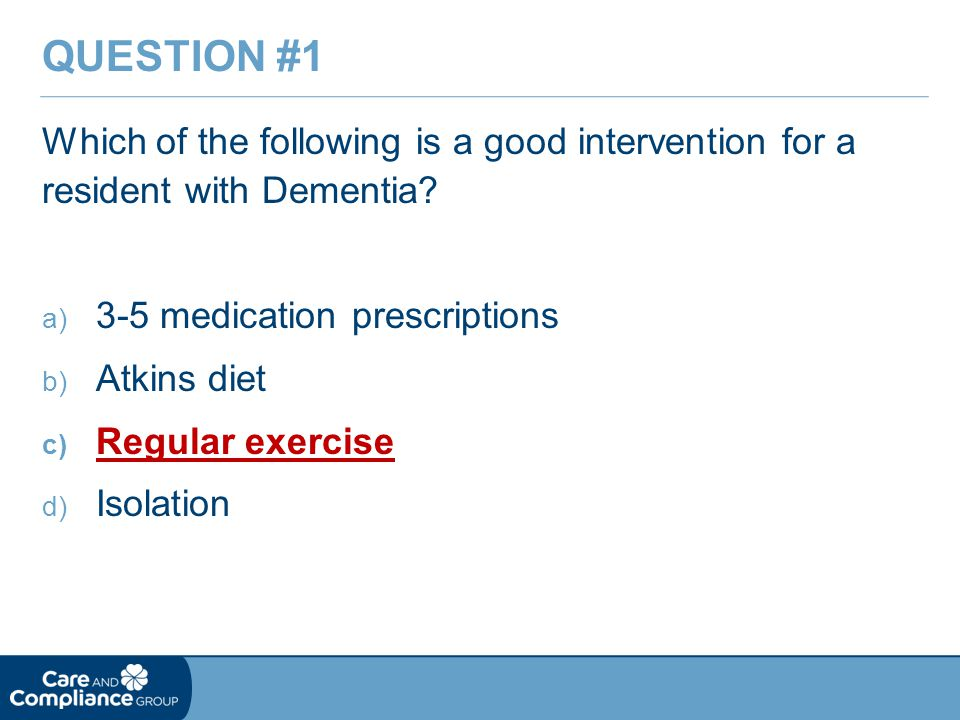 Which of the following is a good intervention for a resident with Dementia.