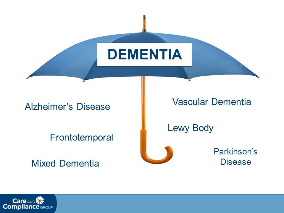 DEMENTIA Alzheimer's Disease Vascular Dementia Lewy Body Parkinson's Disease Frontotemporal Mixed Dementia
