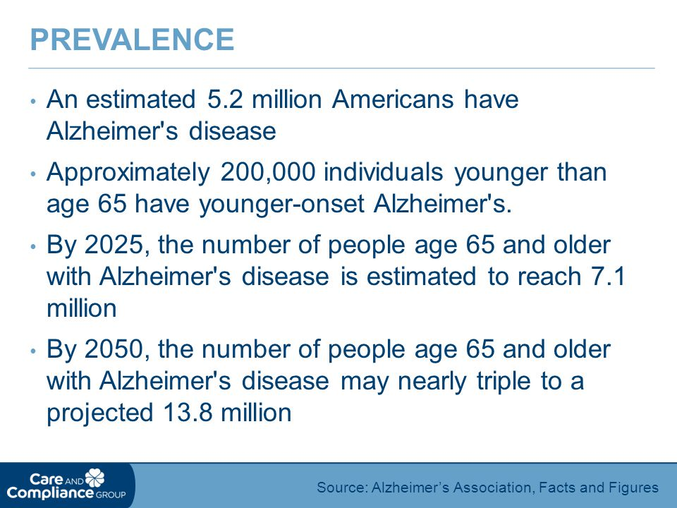 An estimated 5.2 million Americans have Alzheimer s disease Approximately 200,000 individuals younger than age 65 have younger-onset Alzheimer s.