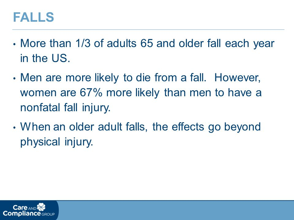 More than 1/3 of adults 65 and older fall each year in the US.