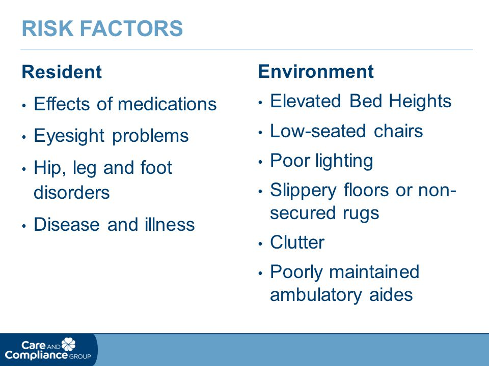 Resident Effects of medications Eyesight problems Hip, leg and foot disorders Disease and illness RISK FACTORS Environment Elevated Bed Heights Low-seated chairs Poor lighting Slippery floors or non- secured rugs Clutter Poorly maintained ambulatory aides