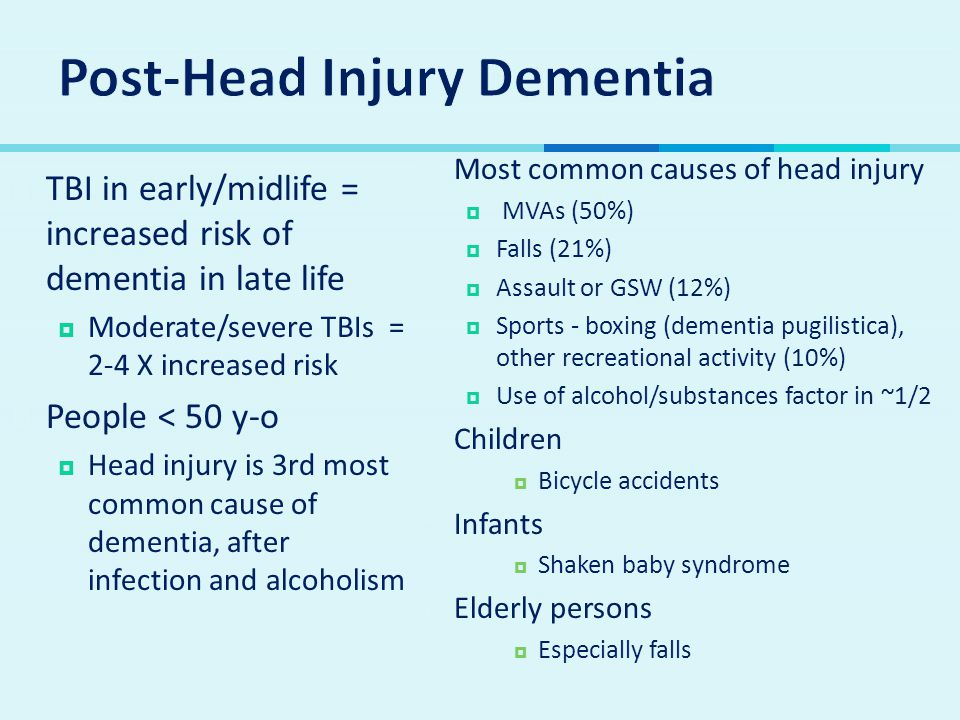  TBI in early/midlife = increased risk of dementia in late life  Moderate/severe TBIs = 2-4 X increased risk  People < 50 y-o  Head injury is 3rd