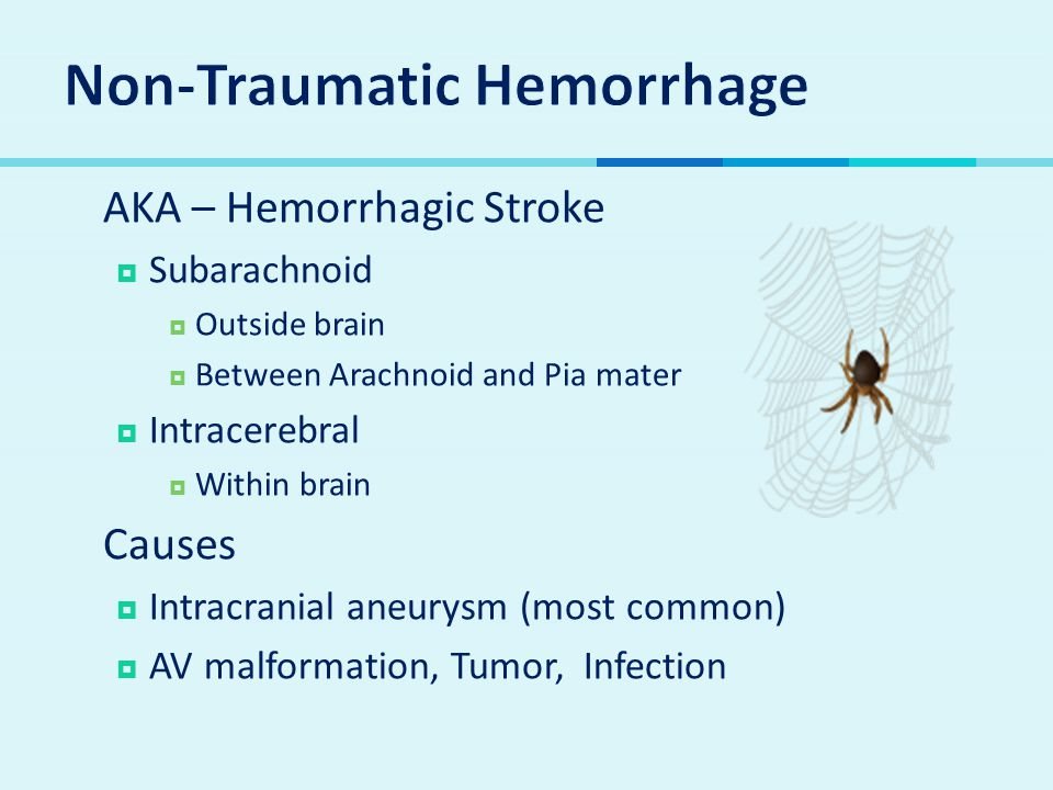  AKA – Hemorrhagic Stroke  Subarachnoid  Outside brain  Between Arachnoid and Pia mater  Intracerebral  Within brain  Causes  Intracranial aneurysm (most common)  AV malformation, Tumor, Infection