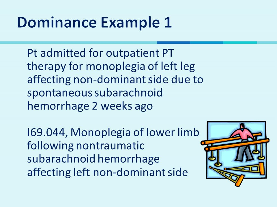  Pt admitted for outpatient PT therapy for monoplegia of left leg affecting non-dominant side due to spontaneous subarachnoid hemorrhage 2 weeks ago I69.044, Monoplegia of lower limb following nontraumatic subarachnoid hemorrhage affecting left non-dominant side