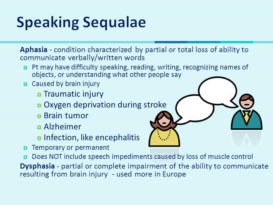  Aphasia - condition characterized by partial or total loss of ability to communicate verbally/written words  Pt may have difficulty speaking, reading, writing, recognizing names of objects, or understanding what other people say  Caused by brain injury  Traumatic injury  Oxygen deprivation during stroke  Brain tumor  Alzheimer  Infection, like encephalitis  Temporary or permanent  Does NOT include speech impediments caused by loss of muscle control  Dysphasia - partial or complete impairment of the ability to communicate resulting from brain injury - used more in Europe