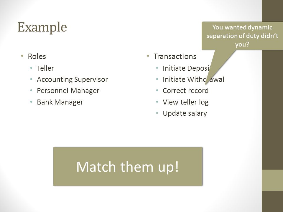 Example Roles Teller Accounting Supervisor Personnel Manager Bank Manager Transactions Initiate Deposit Initiate Withdrawal Correct record View teller
