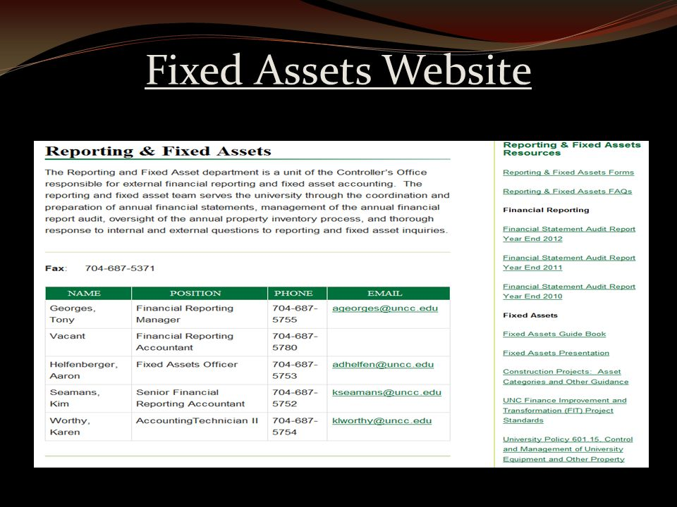 Fixed Assets Website