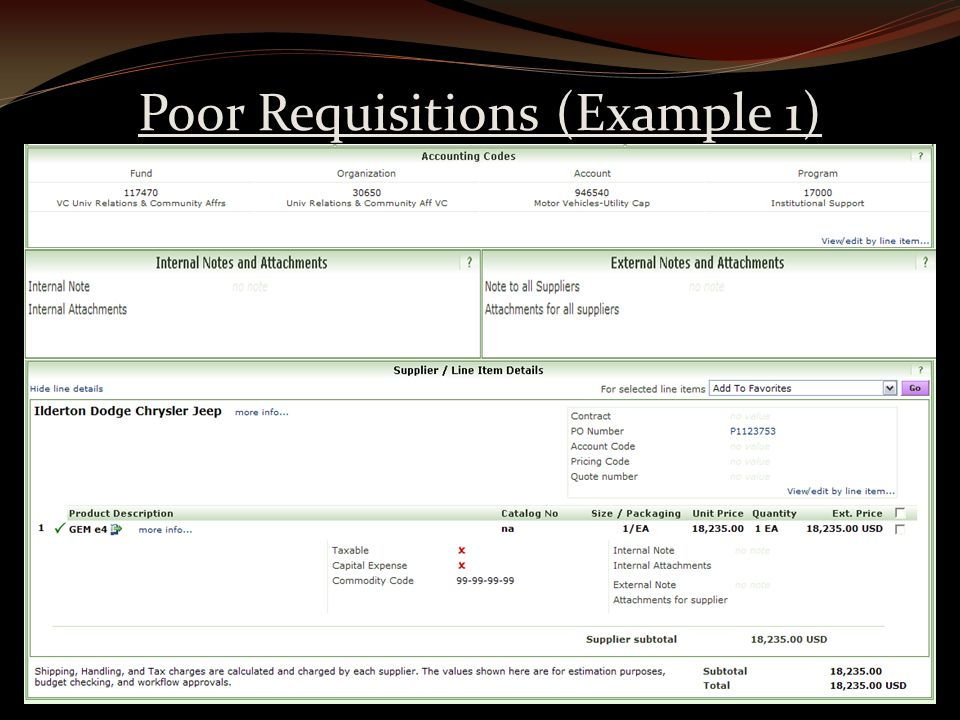 Poor Requisitions (Example 1)
