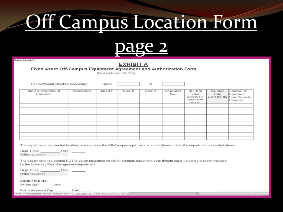 Off Campus Location Form page 2