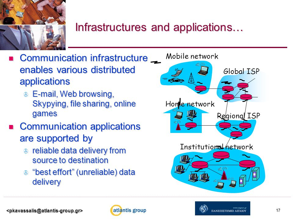Infrastructures and applications… Communication infrastructure enables various distributed applications Communication infrastructure enables various distributed applications  E-mail, Web browsing, Skypying, file sharing, online games Communication applications are supported by Communication applications are supported by  reliable data delivery from source to destination  best effort (unreliable) data delivery 17 Home network Institutional network Mobile network Global ISP Regional ISP
