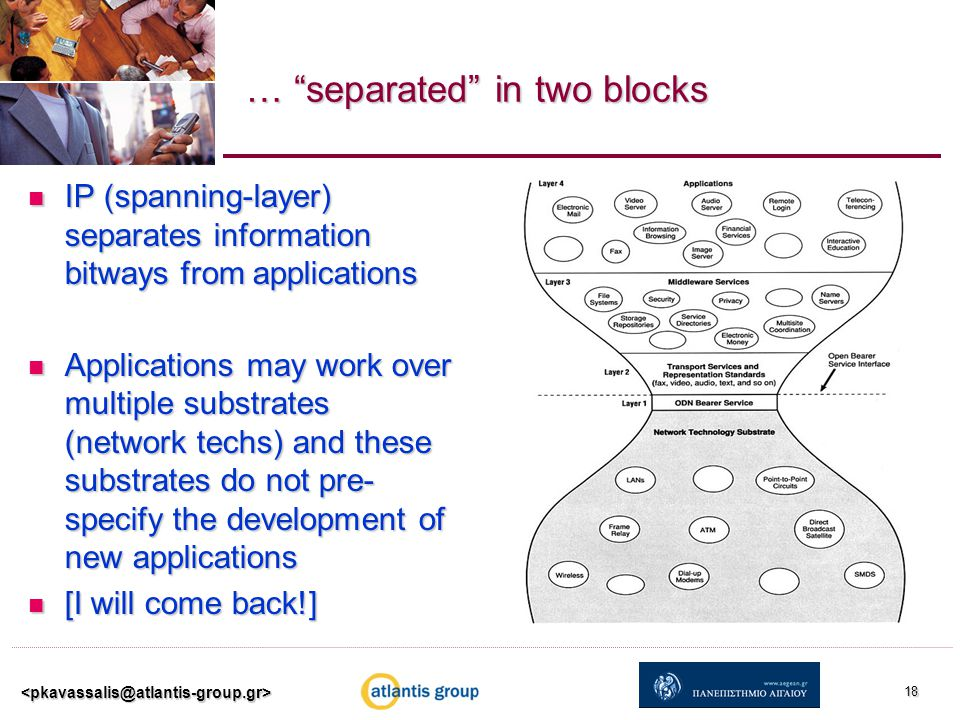 … separated in two blocks IP (spanning-layer) separates information bitways from applications IP (spanning-layer) separates information bitways from applications Applications may work over multiple substrates (network techs) and these substrates do not pre- specify the development of new applications Applications may work over multiple substrates (network techs) and these substrates do not pre- specify the development of new applications [I will come back!] [I will come back!] 18