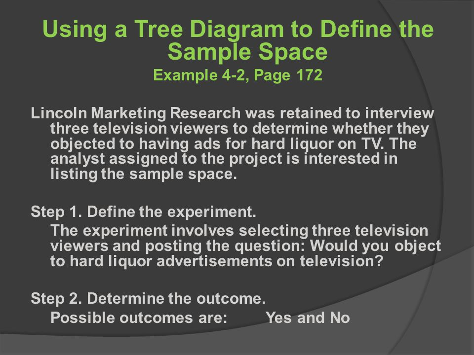 Using a Tree Diagram to Define the Sample Space Example 4-2, Page 172 Lincoln Marketing Research was retained to interview three television viewers to determine whether they objected to having ads for hard liquor on TV.