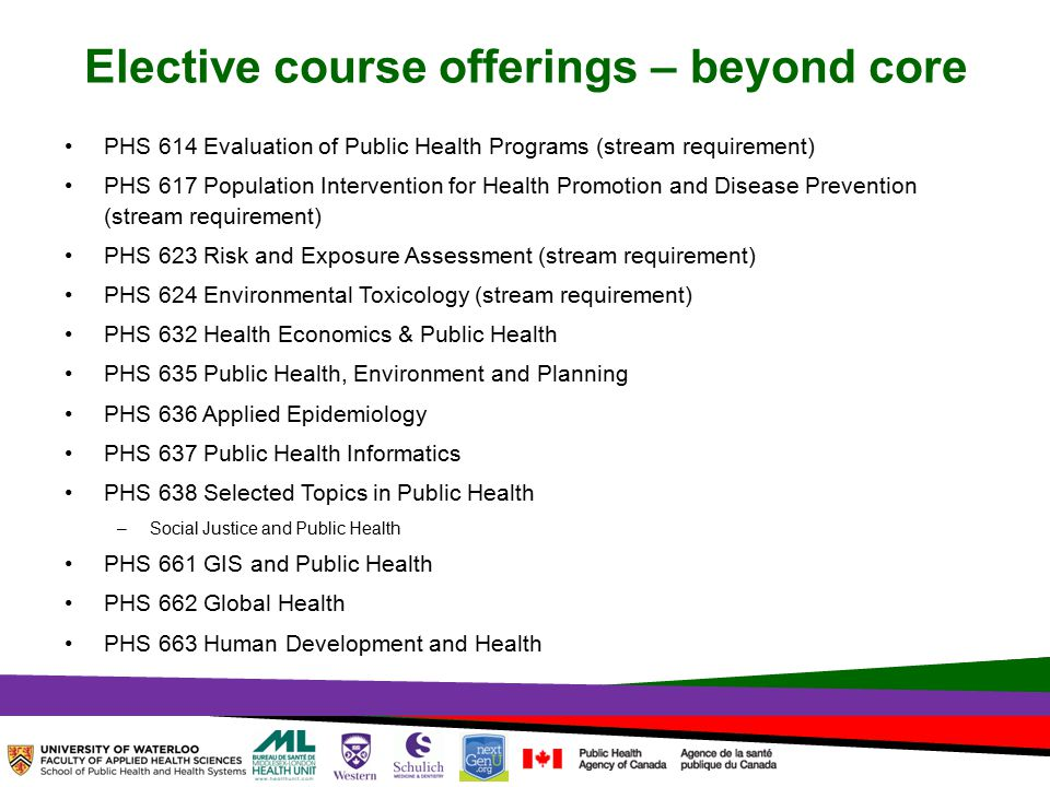 TOPHC – April, 1, 2014 Elective course offerings – beyond core PHS 614 Evaluation of Public Health Programs (stream requirement) PHS 617 Population Intervention for Health Promotion and Disease Prevention (stream requirement) PHS 623 Risk and Exposure Assessment (stream requirement) PHS 624 Environmental Toxicology (stream requirement) PHS 632 Health Economics & Public Health PHS 635 Public Health, Environment and Planning PHS 636 Applied Epidemiology PHS 637 Public Health Informatics PHS 638 Selected Topics in Public Health –Social Justice and Public Health PHS 661 GIS and Public Health PHS 662 Global Health PHS 663 Human Development and Health