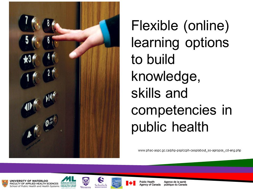 TOPHC – April, 1, 2014 Flexible (online) learning options to build knowledge, skills and competencies in public health www.phac-aspc.gc.ca/php-psp/ccph-cesp/about_so-apropos_cd-eng.php