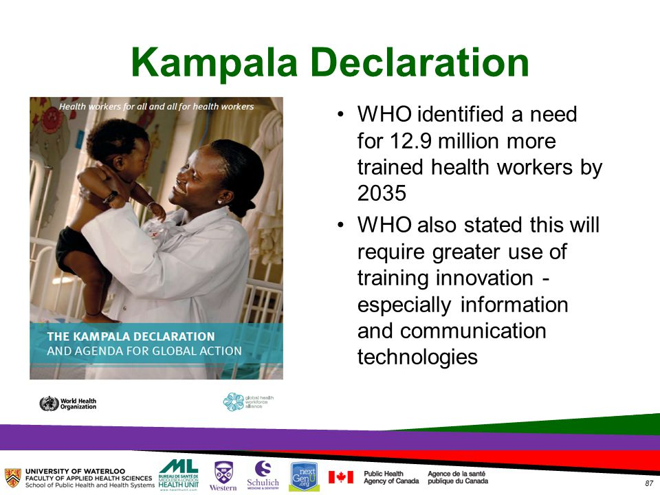 TOPHC – April, 1, 2014 Kampala Declaration WHO identified a need for 12.9 million more trained health workers by 2035 WHO also stated this will require greater use of training innovation - especially information and communication technologies 87