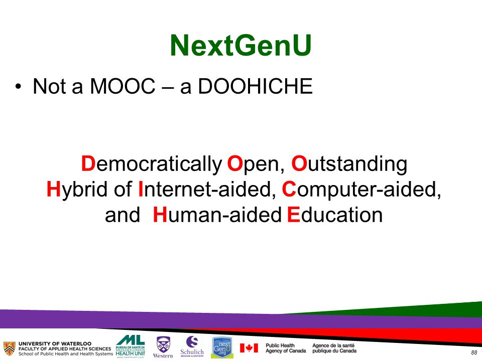 TOPHC – April, 1, 2014 NextGenU Not a MOOC – a DOOHICHE Democratically Open, Outstanding Hybrid of Internet-aided, Computer-aided, and Human-aided Education 88