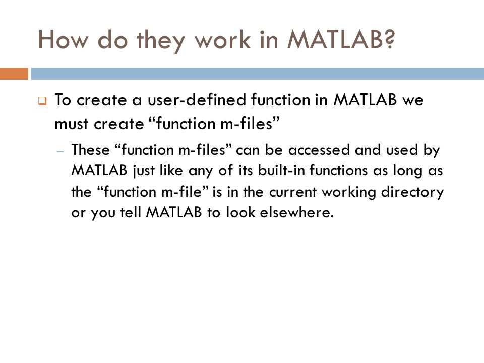 How do they work in MATLAB.