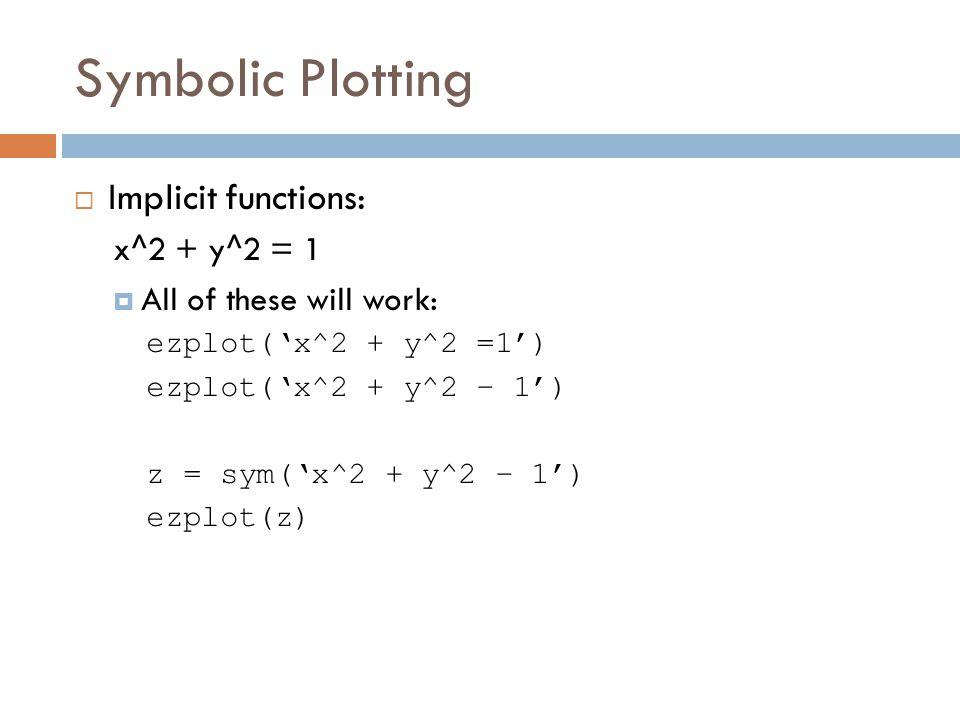 Symbolic Plotting  Implicit functions: x^2 + y^2 = 1  All of these will work: ezplot('x^2 + y^2 =1') ezplot('x^2 + y^2 – 1') z = sym('x^2 + y^2 – 1') ezplot(z)