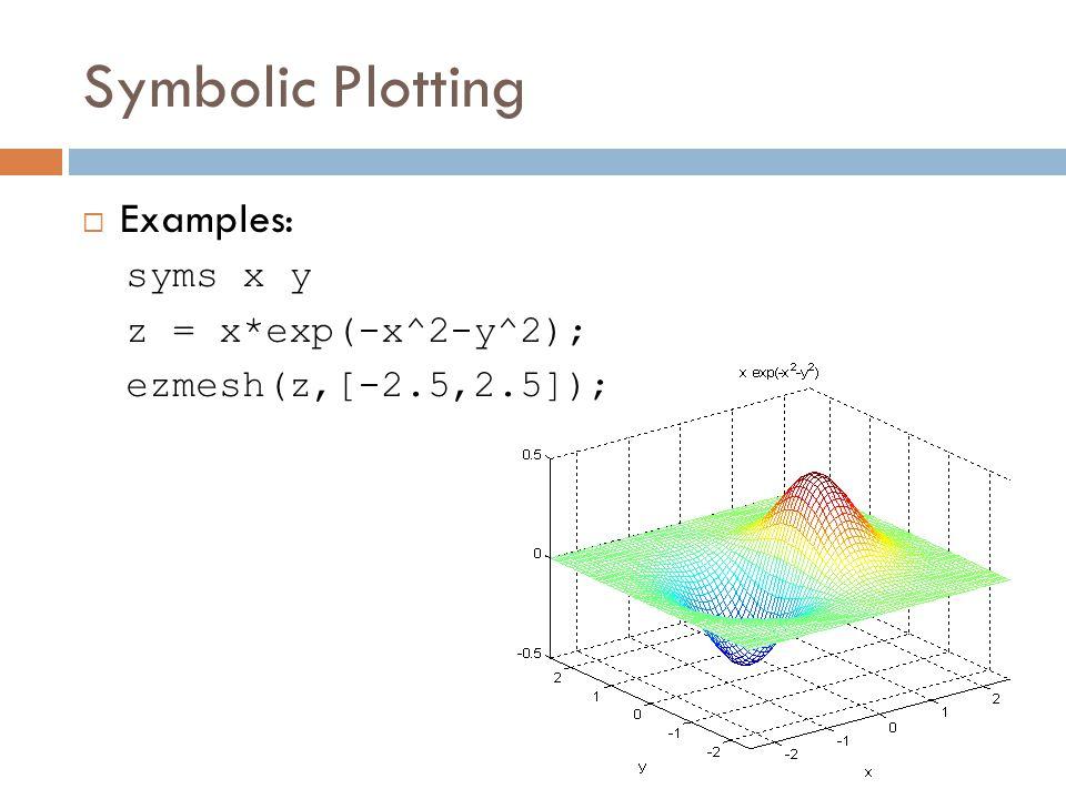Symbolic Plotting  Examples: syms x y z = x*exp(-x^2-y^2); ezmesh(z,[-2.5,2.5]);
