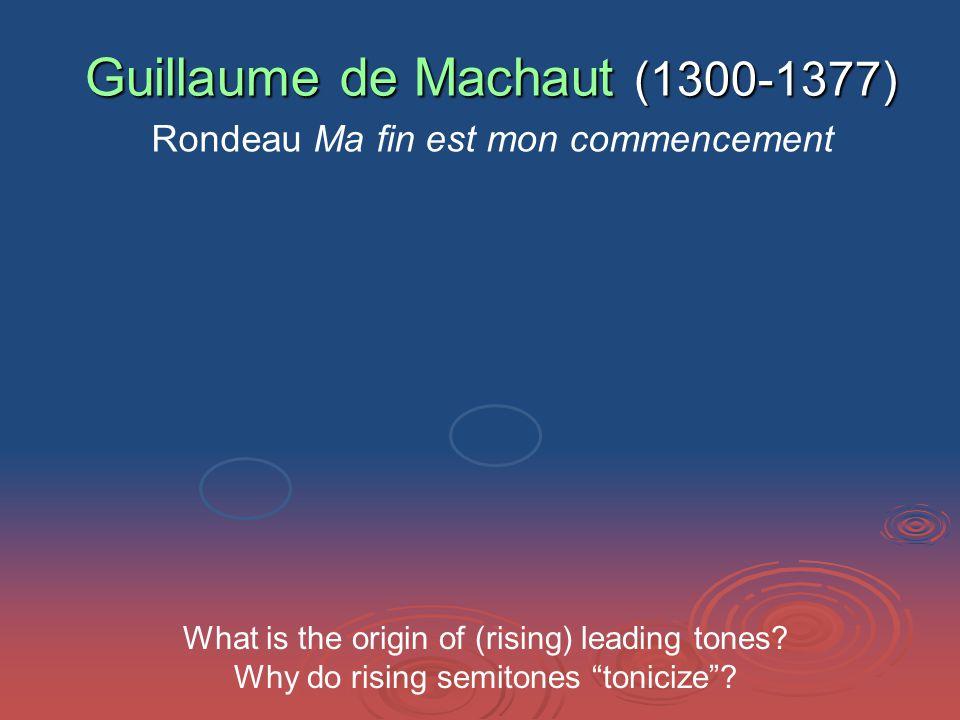 Guillaume de Machaut (1300-1377) Rondeau Ma fin est mon commencement What is the origin of (rising) leading tones.