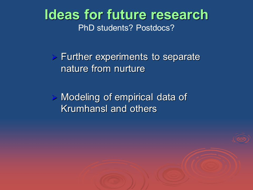 Ideas for future research Ideas for future research PhD students.