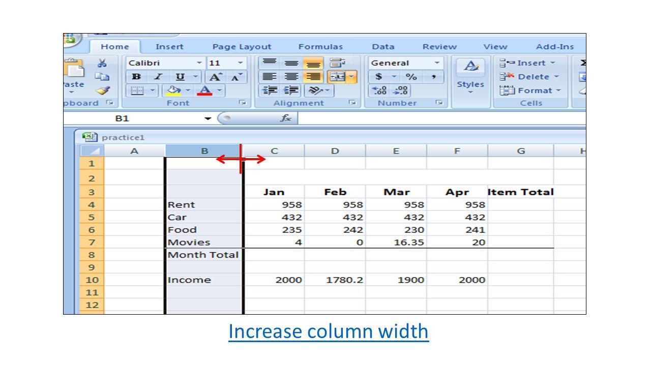 Increase column width