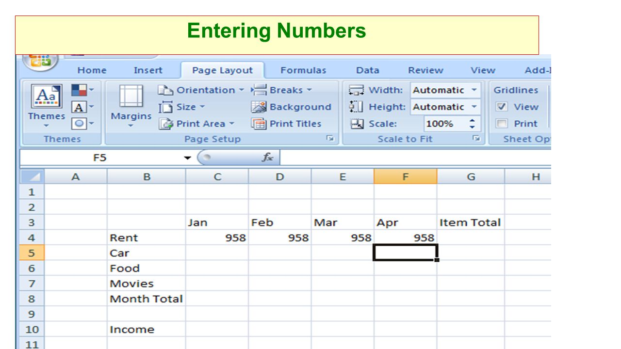 Entering Numbers
